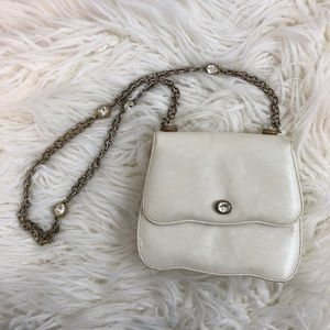 Vintage white purse with gold chain gems mirror